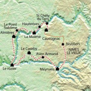 carte randonnée gorges du tarn